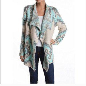Mohair Blend Aztec Waterfall Cardigan Sweater S